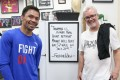 Manny Pacquiao and Freddie Roach have some fun at Keith Thurman's expense during training. Photo: Handout