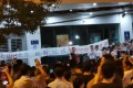People in Yangluo protest against the proposed incineration plant on Thursday night. Photo: Handout