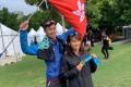 Christy Yiu and her husband Chan Ka-ho after breaking the Hong Kong women's marathon record. Photo: Handout