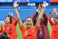 China's defender Haiyan Wu celebrates after playing Spain in the Fifa Women's World Cup. Photo: AFP
