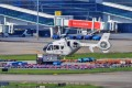 A helicopter departing on the first cross-border flight takes off for Hong Kong at Baoan International Airport in Shenzhen. Photo: Xinhua