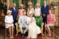 Prince Harry and Meghan, Duke and Duchess of Sussex (front centre), with their son, Archie, and other members of the British royal family and guests at Saturday's christening at Windsor Castle. (From left) Camilla, Duchess of Cornwall, Prince Charles, Prince of Wales, Doria Ragland, Lady Jane Fellowes, Lady Sarah McCorquodale, Prince William, Duke of Cambridge and Catherine, Duchess of Cambridge. Photo: EPA-EFE