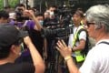 A TVB cameraman is surrounded by protesters at a rally last month. Photo: Twitter