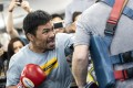 Manny Pacquiao gives it his all as he trains at Wild Card Boxing gym in Los Angeles ahead of his bout against Keith Thurman. Photo: EPA