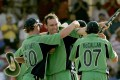 Trent Johnston (centre) celebrates with Ireland teammates after their victory over Bangladesh in the 2007 World Cup in Barbados. Photo: AP