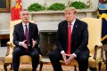 US President Donald Trump meets with Nato Secretary General Jens Stoltenberg in the Oval Office on April 2. File photo: Reuters