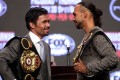 Manny Pacquiao (left) and Keith Thurman hold their final press conference at the MGM Grand Hotel & Casino in Las Vegas. Photo: AFP