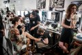 A catwalk model has her make-up done backstage before the Alexandre Vauthier women's autumn-winter 2019/20 haute couture collection show during Paris Fashion Week on July 2. Photo: AFP