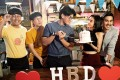 Isariya Patharamanop (centre) and Wanida Termthanaporn (second from right) as the central couple in Bangkok Love Stories: Hey You!, now showing on Netflix. Photo: Netflix