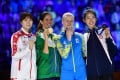 Vivian Kong (right) shows off her bronze medal with the other medal winners at the world championships in Budapest. Photo: FIE/Facebook
