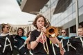 Zel Whiting from Australia takes part in a climate action strike. Young climate change activists across the Asia Pacific have joined a global movement demanding government action and the declaration of climate emergencies.