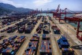 An aerial view of the port and logistics hub in Lianyungang, Jiangsu province, China. Photo: EPA-EFE