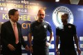 Pep Guardiola (centre) and Raheem Sterling (right) with Kitchee president Ken Ng at Tuesday's press conference. Photo: Nicolas Atkin