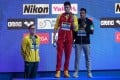 Silver medallist Mack Horton of Australia (left) refused to stand on the podium with gold medallist Sun Yang of China on Sunday. Photo: AFP