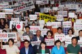 South Koreans rally in Suwon, south of Seoul, demanding Japan abandon its export restrictions. Photo: EPA