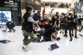 Demonstrators clash with riot police in the latest run-in between officers and anti-extradition protesters, in New Town Plaza in Sha Tin on July 14. Photo: Bloomberg