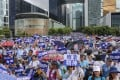 Protesters rally in support of the police force outside Hong Kong's government headquarters on June 30. Photo: K. Y. Cheng