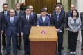 Hong Kong Chief Executive Carrie Lam and other top government officials meet the media in Tamar, Admiralty, on July 22, following the anti-extradition protests of the previous day. Photo: Nora Tam
