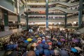 Protesters gather in the atrium of New Town Plaza in Sha Tin on July 14. Photo: Bloomberg