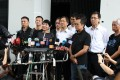 Pro-democracy lawmakers meet the press outside the Legislative Council in Tamar on July 2. Photo: Nora Tam