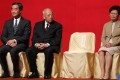 (Left to right) Past and present chief executives Leung Chun-ying, Tung Chee-hwa and Carrie Lam attend the spring reception of the Beijing's liaison office on January 29, 2019. Photo: Sam Tsang