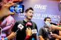 Chatri Sityodtong talks in a media scrum after the One Championship press conference in Manila. Photos: One Championship