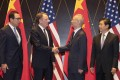 US Trade Representative Robert Lighthizer shakes hands with Chinese Vice Premier Liu He as US Treasury Secretary Steven Mnuchin looks on (left) with Chinese Commerce Minister Zhong Shan (right) in Shanghai. Photo: AP