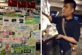 A combination of photos shows a Lennon Wall at Vancouver's Simon Fraser University that once displayed messages in support of the Hong Kong protest movement (left); and a young man destroying the messages, seen in a posted YouTube video (right). Photos: Vancouver Hong Kong Political Activists / YouTube