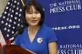 Qu Hua, the wife of Wang Xiyue, a Princeton University graduate student held at an Iranian prison on espionage charges, spoke on Thursday in Washington at a news conference to mark the third anniversary of her husband's imprisonment. Photo: AP