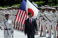 US Secretary of Defence Mark Esper inspects an honour guard ahead in Tokyo, Japan. Photo: Reuters