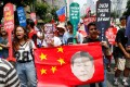 A protest outside the Chinese consulate in Manila last month. Photo: EPA-EFE