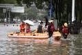 Flooding in Wenling city in Zhejiang province. Photo: Xinhua