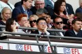 Aston Villa owner Tony Xia watches the club at Wembley in the 2018 Championship play-off final. Photo: Reuters