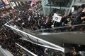 Anti-government protesters filled parts of the airport on Monday. Photo: Felix Wong