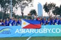 Philippines celebrate their victory in the 2019 Asia Rugby Sevens Trophy for women in Jakarta. Photo: Asia Rugby