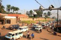 Traffic flows under the surveillance camera system along a street in Kampala, Uganda this week. Photo: Reuters