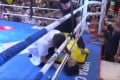 Tan Long lies flat on the canvas after being knocked out by Xuan Wu. Photos: YouTube/Fight Commentary Breakdowns