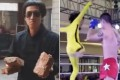 The 'fake Bruce Lee' Tan Long shows off the bricks he broke in training (left) before his bout against MMA fighter Xuan Wu. Photos: YouTube/Fight Commentary Breakdowns