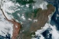 Fires, burning in the Amazon rainforest, are pictured from space, captured by the geostationary weather satellite GOES-16 on Wednesday. Photo: Nasa/Noaa via Reuters