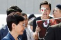 Hong Kong Chief Executive Carrie Lam meets petitioners outside her office in Hong Kong on August 13. Photo: Reuters