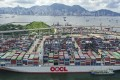 The OOCL Hong Kong, one of the world's largest container ships, at the Hong Kong Container Terminal. Photo: Winson Wong
