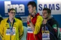 Mack Horton refuses to pose for pictures with Sun Yang after competing in the men's 400 metres freestyle final at the 2019 Fina World Championships in Gwangju. Photo: EPA