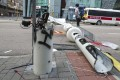 One of the damaged smart lamp posts on Sheung Yuet Road in Kowloon Bay after an extradition bill protest on August 24. Concerns were raised over whether the cameras on the lamp posts installed for functions such as monitoring real-time traffic were surveillance tools for the government. Photo: Edmond So
