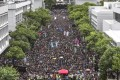 Thousands of students from across the city hold a mass rally at Chinese University. Photo: Sam Tsang