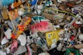 A plastic fish toy among sachets of various products on a trash-filled shore on Freedom Island. Photo: Reuters