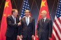US Trade Representative Robert Lighthizer and US Treasury Secretary Steven Mnuchin pose for a photo with Chinese Vice-Premier Liu He in Shanghai on July 31. Within 48 hours of this picture, when progress in negotiations was apparent, the trade war between the US and China escalated with the announcement of fresh tariffs. Photo: AFP