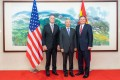 Chinese Vice-Premier Liu He (centre) meets US Senators David Perdue (left) and Steve Daines on Tuesday. Photo: Xinhua