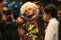 Khabib Nurmagomedov speaks in the Octagon after winning his fight against Dustin Poirier. Photo: Reuters