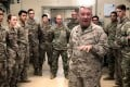 Marine General Kenneth McKenzie, head of US Central Command, speaks to troops while visiting Forward Operating Base Fenty in Jalalabad, Afghanistan, on Monday. Photo: Reuters