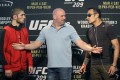 UFC president Dana White stands between Tony Ferguson (right) and Khabib Nurmagomedov during a news conference for UFC 209 on March 2, 2017. The fight was ultimately cancelled. Photo: AP